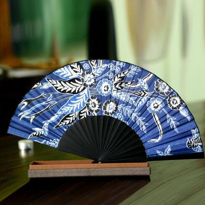 Silk batik fan, 'Deep Blue Blossom' - Batik Silk Fan from Indonesia