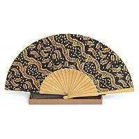 Silk batik fan, 'Tamarind Leaves'