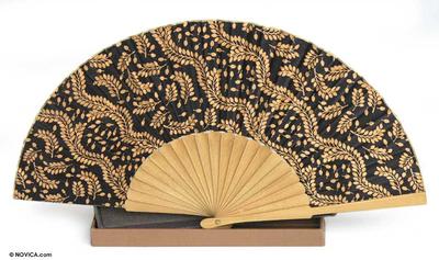 Silk batik fan, 'Tamarind Leaves' - Women's Silk Batik Fan from Indonesia