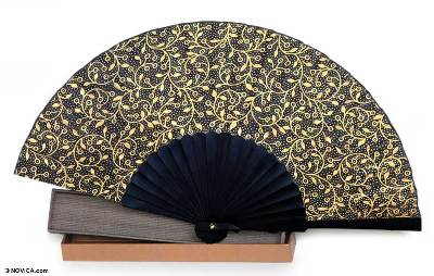 Silk batik fan,'Golden Vines' - Silk Batik Fan From Indonesia