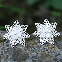 Sterling silver filigree earrings, 'Filigree Lotus' - Sterling silver filigree earrings