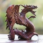 Hand Carved Wood Dragon Sculpture, 'Winged Dragon'