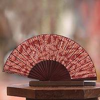 Silk batik fan, 'Burgundy Fern' - Handcrafted Batik Wood Silk Patterned Fan