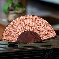 Silk batik fan, 'Red Fern' - Indonesian Silk Patterned Fan