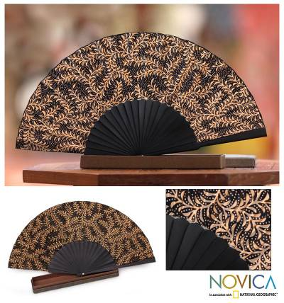 Silk batik fan, 'Ebony Fern' - Black Silk Batik Fan