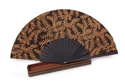 Silk batik fan, 'Ebony Fern' - Black Silk Batik Fan