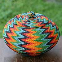 Beaded rattan basket, 'Forest Lightning' - Geometric Pattern Natural Fiber Basket