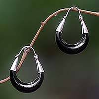 Sterling silver hoop earrings, 'Half Moon' - Black Cow Horn and Sterling Silver Earrings from Bali