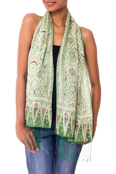 Silk batik scarf, 'Royal Java Green' - Hand Made Floral Silk Batik Scarf