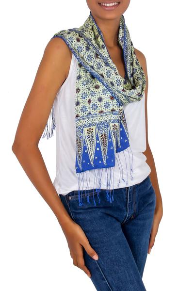 Silk batik scarf, 'Blue Jasmine' - Batik Silk Scarf from Indonesia