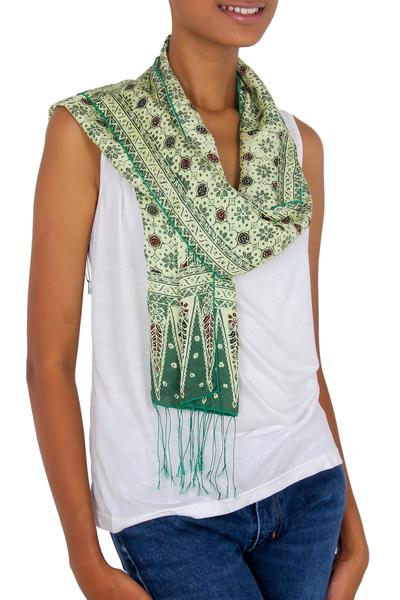 Silk batik scarf, 'Jade Jasmine' - Green Batik Silk Scarf