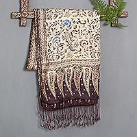 Silk batik scarf, 'Carnations'