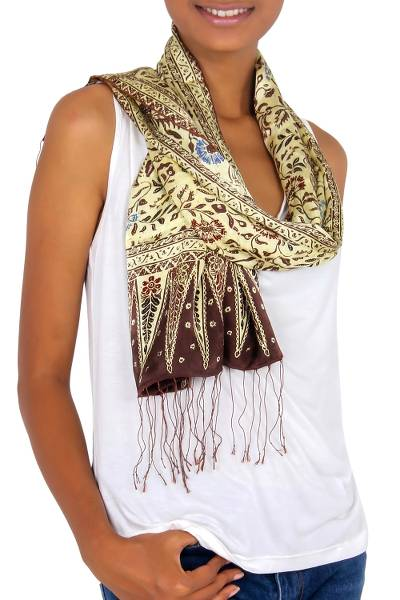Silk batik scarf, 'Carnations' - Hand Crafted Wine Floral Silk Patterned Scarf