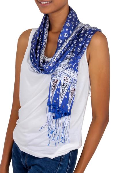 Silk batik scarf, 'Awakening' - Blue Silk Batik Scarf