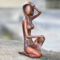 Wood sculpture, 'Sensuality' - Hand Crafted Female Nude Wood Sculpture