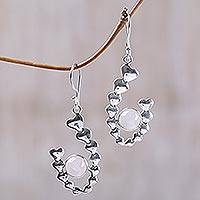 Rose quartz drop earrings, 'Heartfelt Hug' - Rose quartz drop earrings