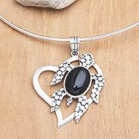 Onyx choker, 'Turtle Heart' - Onyx and Sterling Silver Collar Necklace