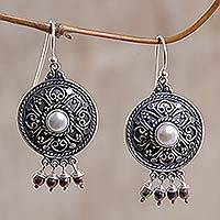 Pearl chandelier earrings, 'Balinese Gong' - Pearl chandelier earrings