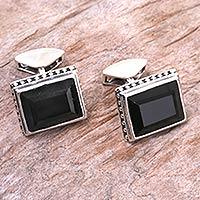 Onyx cufflinks, 'Solemn Elegance' - Onyx cufflinks