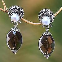 Cultured pearl and smoky quartz dangle earrings, 'Java Contrasts' - Cultured Pearl and smoky quartz dangle earrings