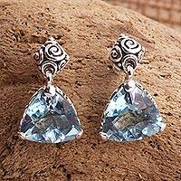 Blue topaz earrings, 'Mystic Trinity'