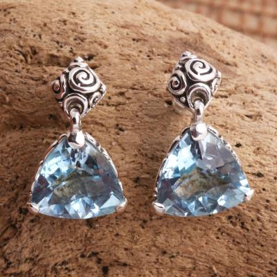 Blue topaz earrings, 'Mystic Trinity' - Blue Topaz Sterling Silver Dangle Earrings