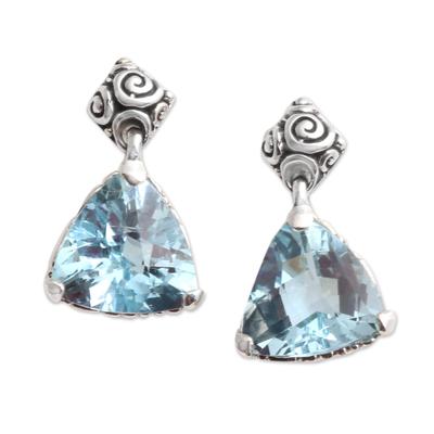 Blue topaz earrings, 'Mystic Trinity' - Blue Topaz Sterling Silver Dangle Earrings