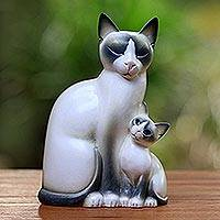 Wood sculpture, 'Mom Cat' - Wood sculpture