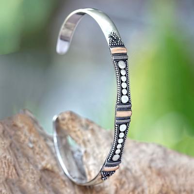 Bracelet, 'So Close' - Gold Plated Sterling Silver Cuff Bracelet