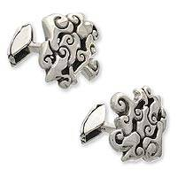Sterling silver cufflinks, 'Javanese Clouds' - Sterling silver cufflinks