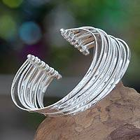 Sterling silver cuff bracelet, 'Concentric' - Sterling Silver Cuff Bracelet