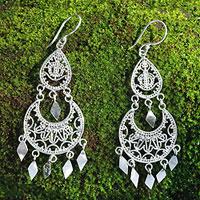 Sterling silver chandelier earrings, 'Illusion'