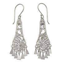 Sterling silver chandelier earrings, 'Bell Garden' - Sterling Silver Chandelier Earrings