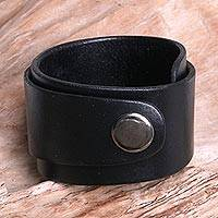 Leather wrap bracelet, 'Night Explorer' - Leather Wristband Bracelet