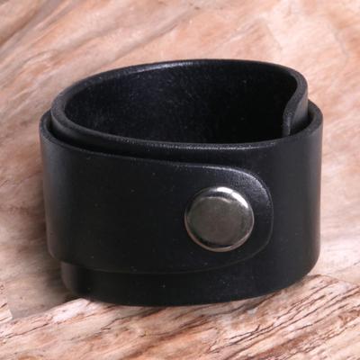 Leather wristband bracelet, 'Night Explorer' - Leather Wristband Bracelet