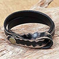 Distressed leather wrap bracelet, 'Daring in Black' - Distressed Leather Wristband Bracelet