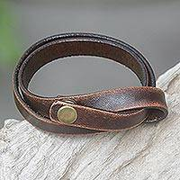 Distressed leather wrap bracelet, 'Daring in Brown'