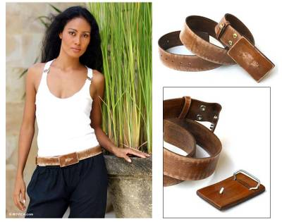 Distressed leather belt, Brown Bridge