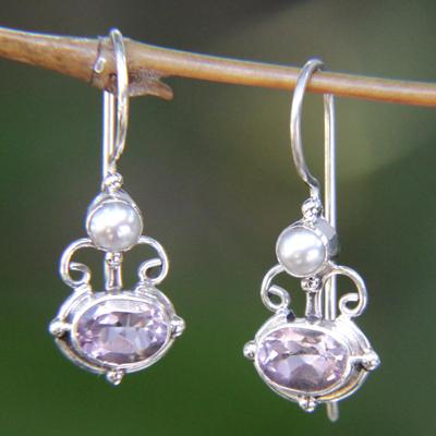Amethyst and pearl drop earrings, 'Sunrise Spirit' - Sterling Silver Amethyst Drop Earrings