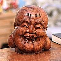 Wood sculpture, 'Buddha's Laughter' - Hand-Carved Suar Wood Buddha Sculpture from Bali