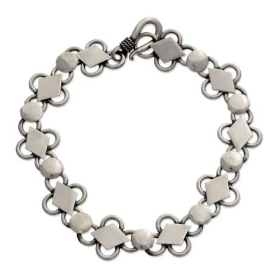 Sterling silver link bracelet, 'Clubs and Diamonds' - Sterling silver link bracelet