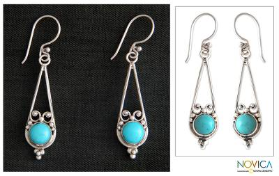 Sterling silver dangle earrings, 'Destiny' - Sterling Silver Dangle Earrings