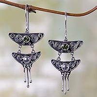 Peridot chandelier earrings, 'Summer Moonlight' - Indonesian Peridot Sterling Silver Chandelier Earrings