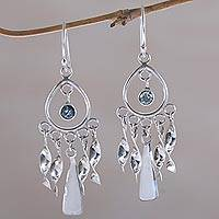 Topaz chandelier earrings, 'Blue Wind Chime'