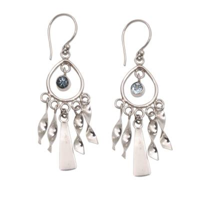 Topaz chandelier earrings, 'Blue Wind Chime' - Topaz chandelier earrings