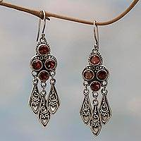 Garnet chandelier earrings, 'Forest Princess' - Sterling Silver Garnet Chandelier Earrings