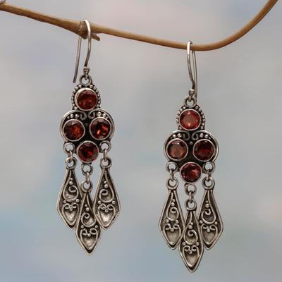Garnet Chandelier Earrings Forest Princess Sterling Silver