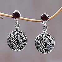 Garnet flower earrings, 'Silver Fern' - Garnet flower earrings