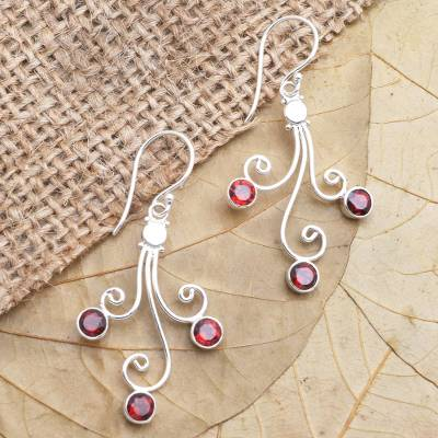 Garnet dangle earrings, 'Pomegranate Trio' - Sterling Silver Garnet Dangle Earrings