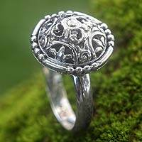 Sterling silver cocktail ring, 'Talisman Shield' - Balinese Handcrafted Sterling Silver Cocktail Ring